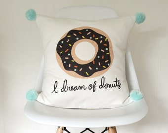 Donut 18 inch removable throw pillow cover case eco friendly baby children nursery gift chocolate with sprinkles