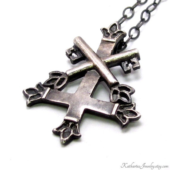 Items similar to st peters cross necklace fine silver inverted items similar to st peters cross necklace fine silver inverted cross pendant petrine cross on etsy aloadofball Images