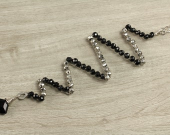 Silver and Black Zig Zag Necklace