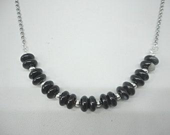 Black Onyx Agate Rondelle Semi Precious Gemstone Necklace