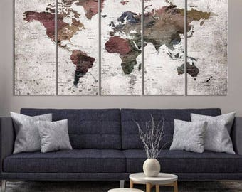 Extra Large Watercolor Push Pin World Map Canvas Print - Dark Coloured World Map with Country Names on Gray White Background Canvas Print