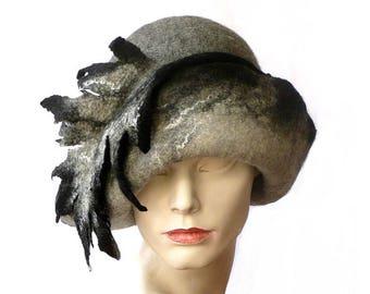 Unique Felt hat,Millinery hat,Cloche hat,felted Hat,Cloche hats,1920s hat,women's hat,Victorian hat,Grey White Wool hat Merino wool felt Hat