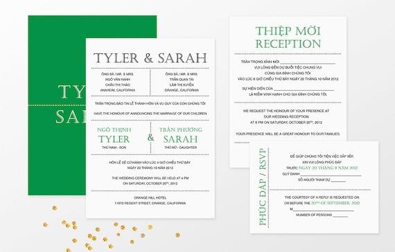 Printable Bilingual Vietnamese Wedding Invitation Set