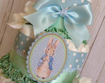 Peter Rabbit diaper cake/Boy diaper cake/Peter Rabbit baby shower centerpiece/Blue and mint green diaper cake