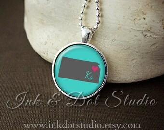 Kansas Necklace, Love Kansas Pendant, Custom State Pendant, Kansas Jewelry, Customizable