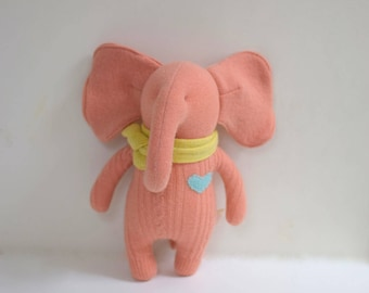 Handmade Elephant stuffed small peach elephant doll upcycled soft wool sweater eco baby gift soft plush toy elephant bubynoa Elifants