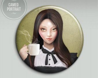 Pocket mirror - Amelia (Cameo Portrait) - 58mm