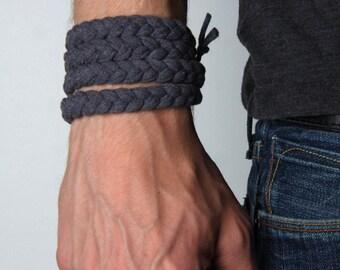 Men Bracelet, Gift for Men, Boyfriend Gift, Mens Gift, Husband Gift, Braided Bracelet, Wrap Bracelet, Cuff Bracelet, Boyfriend Gift, Mens
