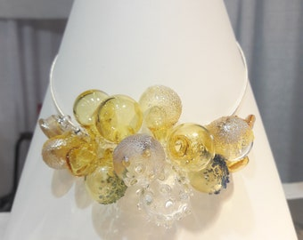 Yellow Transparent Blown Glass Pyrex Statement Necklace- glass bubbles spring has sprung !