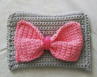 Handmade grey crochet purse / free shipping