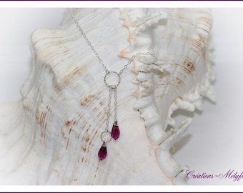 Silver necklace with purple Swarovski Crystal pendant