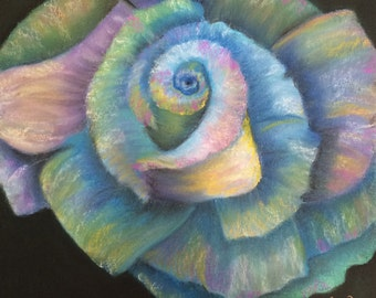 "Pastel drawing  rose multi color rainbow flower floral garden art 12""x12"""