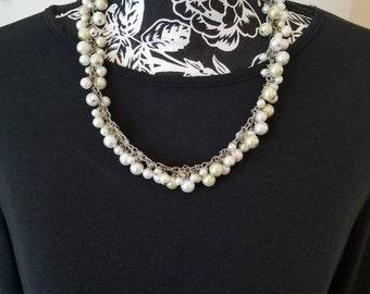 Antique white dangle pearl necklace