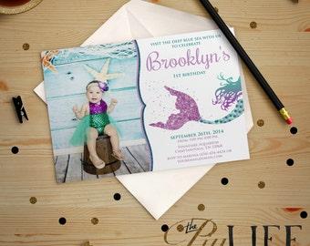 Glitter Siren Mermaid Under The Sea Birthday Invitation with photo Printable DIY No. I195