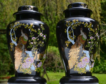 "Pair of 15"" Ceramic Ginger Jar Asian Style Lamp Bases, Floral Peacock Imagery"