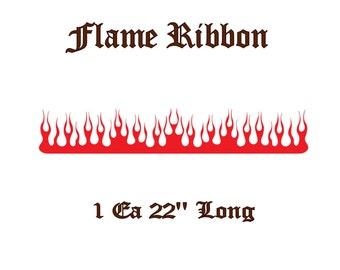 "22"" Long Flame Ribbon Vinyl Decal - FA1- Select Color"