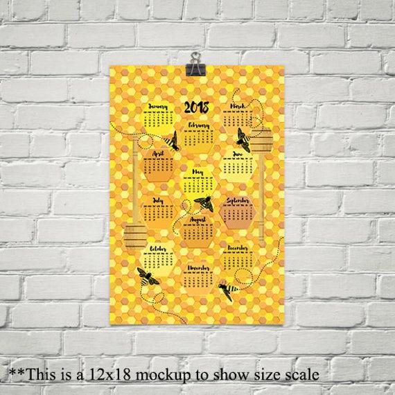 2018 Calendar Bees on Honeycomb Kitchen Wall Art Large Wall