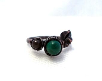 Leaf ring, nature ring, malachite ring, garnet ring, garnet leaf ring, malachite leaf ring, green ring, deep red ring, multistone leaf ring
