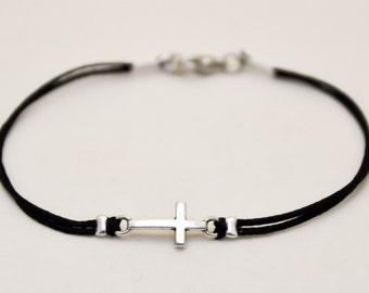 Graduation gift, Cross bracelet for men, men's bracelet with a silver cross pendant, black cord, gift for him, christian catholic jewelry
