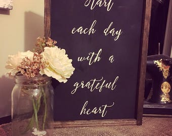 Grateful Heart Wooden Sign