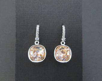 Blush Rose Swarovski Crystal Earrings/ Bridesmaid Jewelry/Pink Wedding Jewelry/ Pink Crystal Drop Earrings/Blush Rose Bridesmaid  Earrings