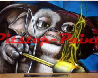 Gizmo, Gremlins - A1 canvas print from airbrushed artwork