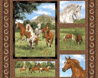 New Fabri-Quilt Run Free Horse Wall Hanging / Quilt Top Panel 100% cotton Fabric by the Panel (FQ367)