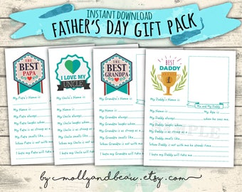 Father's Day Printable Gift Pack, Cute All About Daddy, Grandpa, Papa, Uncle & Godfather Interview Questions for kids, Father's Day Gift