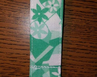Green/Turquoise Geometric and Floral Print Fabric Keychain/ Key Fob- Stocking Stuffer, Teacher Gift