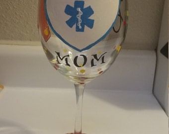 Personalized Hand Painted Wine Glass, Paramedic Wine Glass, EMT Wine Glass, Firefighter Wine Glass, Police Wine Glass