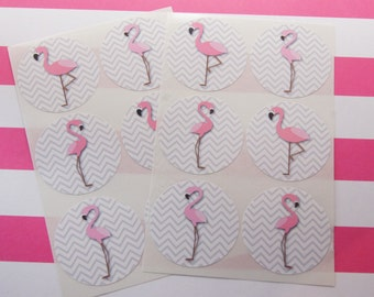 24 Pink Flamingo Stickers Envelope Seals Scrapbook Stickers Calendar Stickers SES245