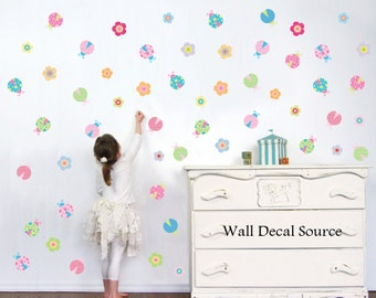 Lady Bug Wall Decals - Girls Wall Decals - Wall Decals For Girls - Vinyl Stickers - Bug Decals - Flower Decals - Ladybug Decals & Nursery Wall Decals Kids Wall Decals Ocean by WallDecalSource