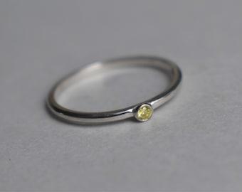 Stacking Ring, Bezel Set Stacking Ring, Stackable Ring, White Gold Stacking Band, Diamond Ring, Yellow Diamond Stacker