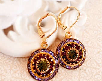 Art Deco Earrings - Purple - Crystal Cluster Earrings - Spring Jewelry - AURORA Vineyard