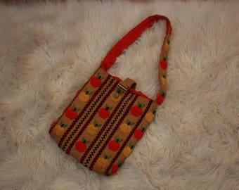 Vintage embroidered apple bag