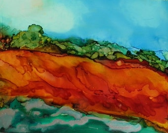 Alcohol Ink Painting 5x7 landscape original art on Yupo paper  # 154