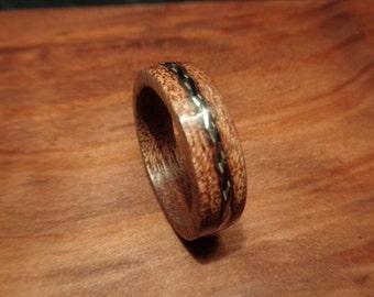 Wood Ring,Band Ring,Mahogany Wood Ring with Twisted Guitar D String Inlay,Mahogany Ring,Handmade Wooden Band,Jewelry,Guitar String Ring