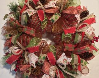 Christmas wreath, rustic Christmas wreath, holiday wreath, wreath, Christmas wreaths, Christmas, rustic Christmas decor, mesh Christmas