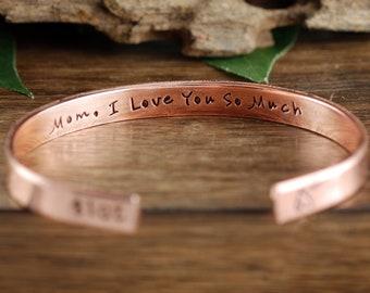 Mama, ich liebe dich Armreif, Muttertagsgeschenk, Armbänder, personalisierte Schmuck, Hand gestempelt Armreif, Geschenk für Mama, Mama-Schmuck