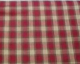 Homespun Plaid Fabric – Red and Tan Plaid