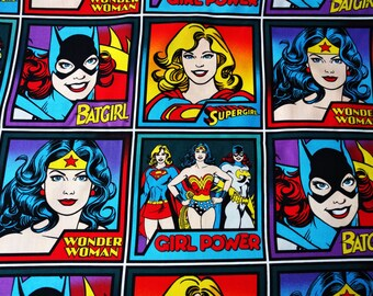 Comic Book Print Super Hero DC Super Girl, BatGirl, Wonder Women- Fat Quarter Fabric Cotton Print