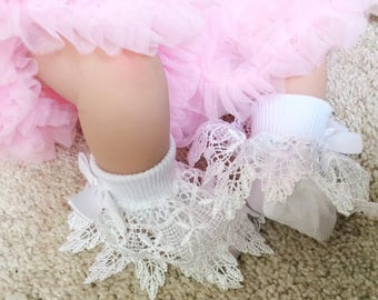 Frilly lace baby socks, baby girl socks, Romany baby socks, white ankle socks, lace socks, christening socks, guipere lace, baby outfit