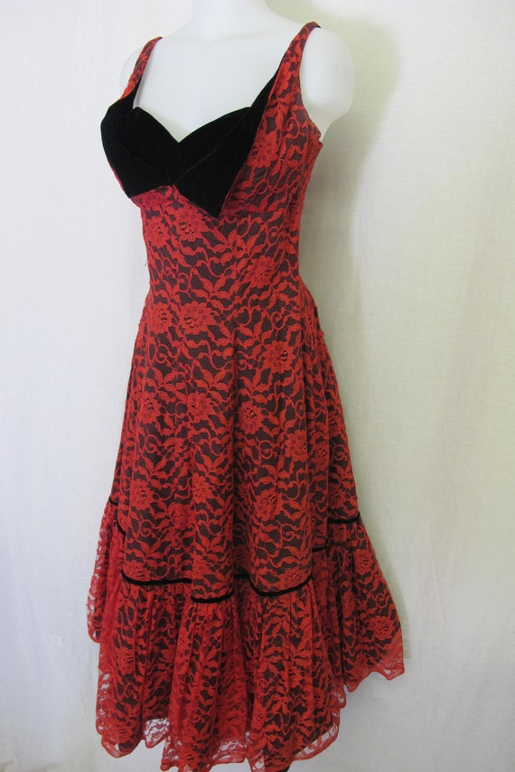 1950\'s Cocktail Dress Red Lace Dress Christmas Dress