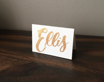 Name Place Cards - Brush Calligraphy, tented / folded