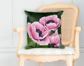 Pretty Pink Poppies Square Pillow
