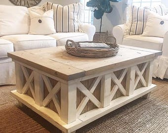 Distressed Farmhouse Crossbuck Coffee Table