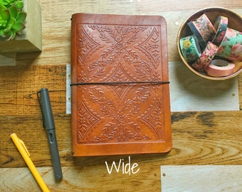 DIAMOND FLOURISH EMBOSSED Travelers Notebook - Large Moleskine Embossed Leather Fauxdori - Midori Style Travelers Notebook - Moleskine Cover