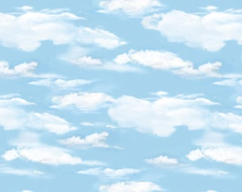 OH DEER! Light blue sky clouds white cotton print by the 1/2 yard Wilmington fabric-30164-401