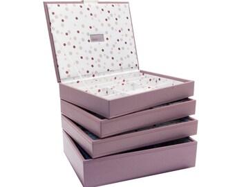 Stackers Set of 4 Pink Spot Medium Stacker Jewellery Trays LC4SETPINKSPOT