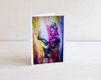 5x7 Watercolor Art Card | Buddhist Tranquility Card | Thank You Card | Birthday Card | Thinking of You Card | Blank Card For Any Occasion